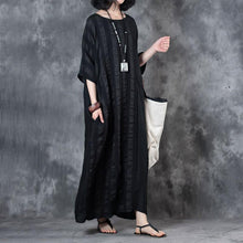 Load image into Gallery viewer, top quality linen dress trendy plus size Retro Loose Round Neck 12 Sleeve Black Dress