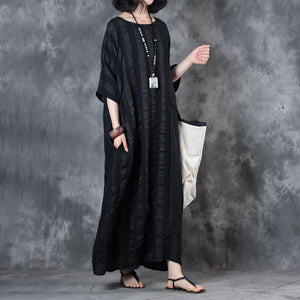 top quality linen dress trendy plus size Retro Loose Round Neck 12 Sleeve Black Dress