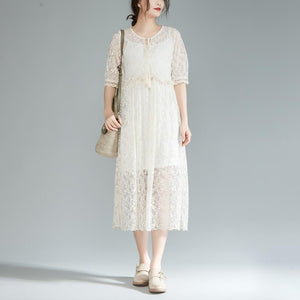 top quality long cotton dress oversize lace Lacing Two Pieces Set 12 Sleeve Pleated Dress