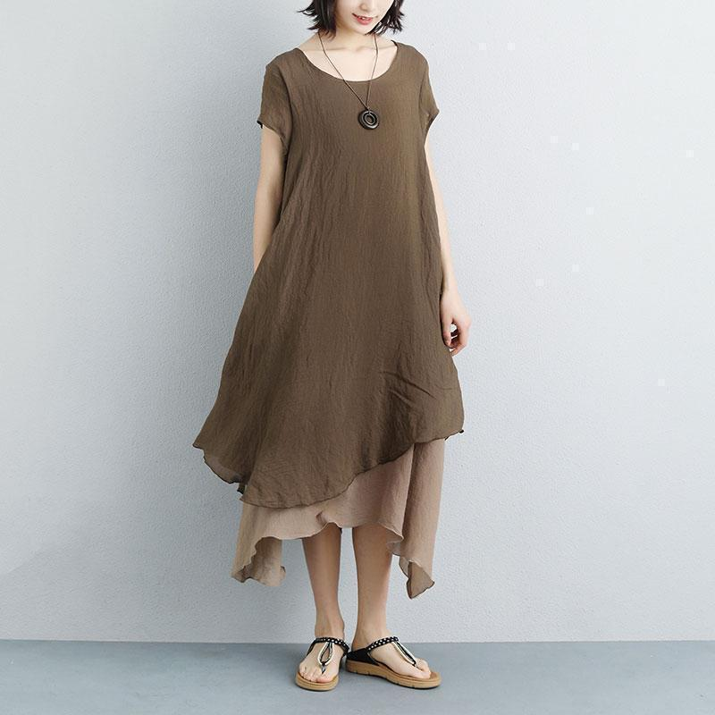 fine long cotton dresses plus size False Two-piece Short Sleeve Coffee Plain Dress