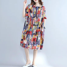 Afbeelding in Gallery-weergave laden, fine multi color pure cotton dresses oversize shirt dress fine slim fit o neck cotton dresses