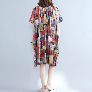 fine multi color pure cotton dresses oversize shirt dress fine slim fit o neck cotton dresses