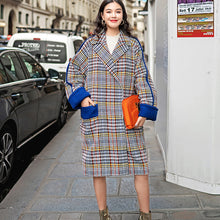 Load image into Gallery viewer, top quality multicolor Plaid Winter coat plus size pockets maxi coat vintage Notched Winter coat