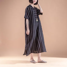Load image into Gallery viewer, top quality natural linen dress trendy plus size Short Sleeve Slit Summer Round Neck Stripe Black Dress