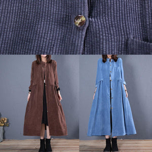 top quality navy coats plus size fall o neck pockets long coat