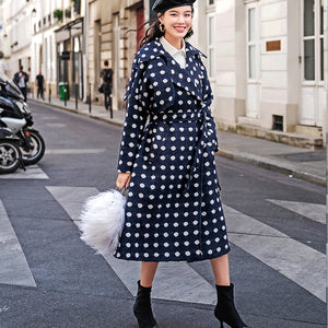 top quality navy dotted coat oversize Notched trench coat 2018 tie waist wool jackets