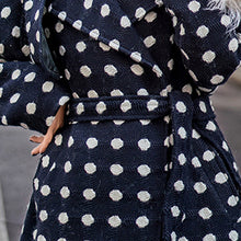Load image into Gallery viewer, top quality navy dotted coat oversize Notched trench coat 2018 tie waist wool jackets