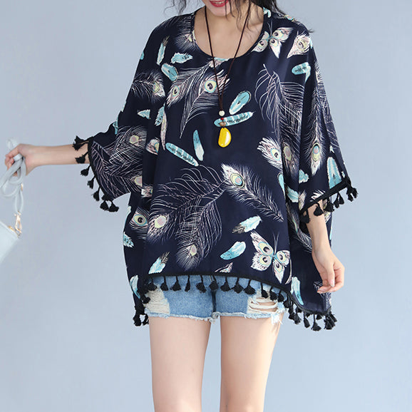 fine navy natural linen t shirt Loose fitting casual cardigans boutique tassel floral linen cotton tops