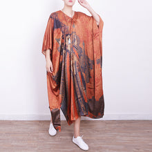 Load image into Gallery viewer, top quality orange Midi-length silk dress plus size casual dress 2018v neck prints silk dresses