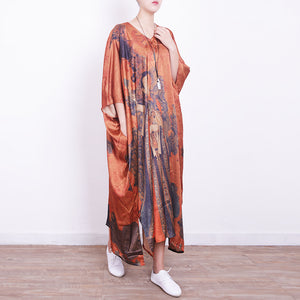 top quality orange Midi-length silk dress plus size casual dress 2018v neck prints silk dresses