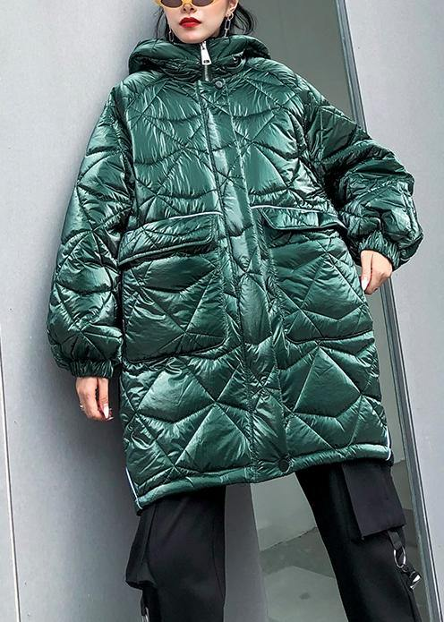 fine oversize winter jacket green hooded zippered Parkas for women