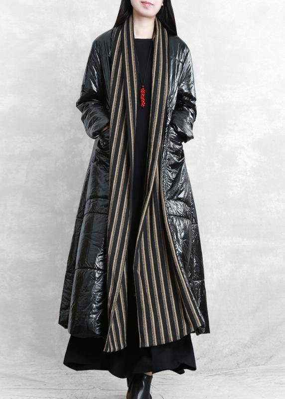 fine oversized Winter coat black patchwork striped pockets wool coat