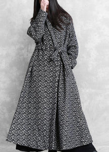 top quality oversized long jackets outwear black plaid v neck tie waist wool coat