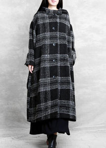 fine plus size clothing Winter coat outwear black plaid hooded patchwork Woolen Coats