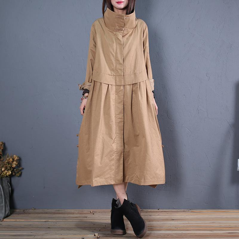 fine plus size long coats fall outwear khaki side open Coats