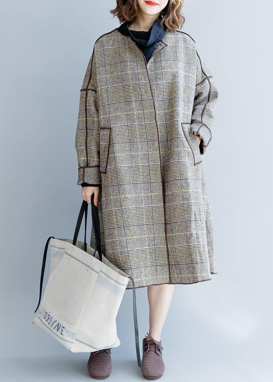 fine plus size mid-length coats winter woolen outwear plaid pockets woolen overcoat