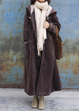 Load image into Gallery viewer, top quality plus size warm winter coat zippered outwear chocolate hooded coat