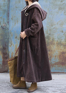 top quality plus size warm winter coat zippered outwear chocolate hooded coat