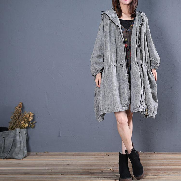 top quality plus size winter coat fall outwear gray plaid hooded coats