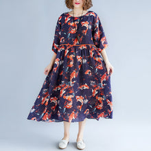 Load image into Gallery viewer, top quality print holiday dress o neck long dress exra large hem holiday dress