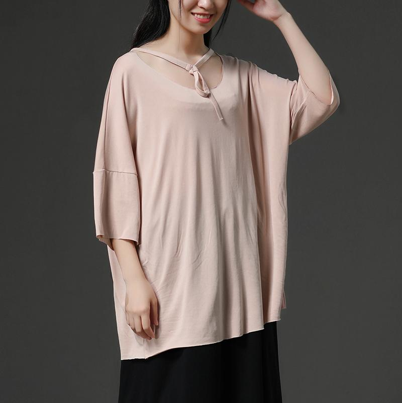 fine pure cotton blended tops plus size Light Pink Casual Summer Women Pullover Shirt