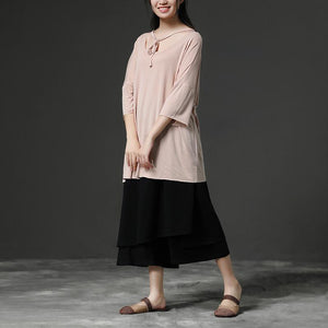 top quality pure cotton blended tops plus size Light Pink Casual Summer Women Pullover Shirt