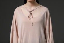Load image into Gallery viewer, top quality pure cotton blended tops plus size Light Pink Casual Summer Women Pullover Shirt