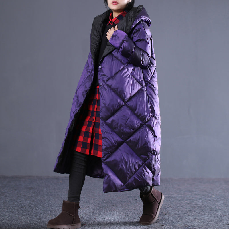 top quality purple winter oversize hooded Parka Luxury pockets zippered cotton overcoat