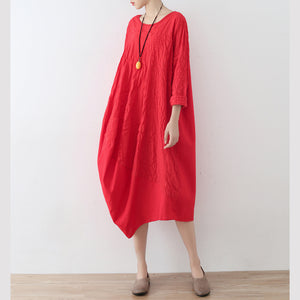 top quality red cotton dress oversized asymmetrical traveling clothing casual spring caftans