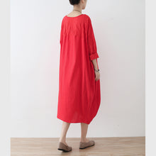 Load image into Gallery viewer, top quality red cotton dress oversized asymmetrical traveling clothing casual spring caftans
