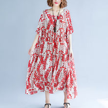 Load image into Gallery viewer, top quality red cotton linen dress trendy plus size short sleeve print baggy dresses cotton gown 2018 v neck traveling clothing