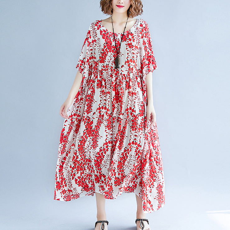 fine red cotton linen dress trendy plus size short sleeve print baggy dresses cotton gown 2018 v neck traveling clothing