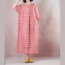 Load image into Gallery viewer, top quality red linen dresses oversized o neck print linen gown vintage half sleeve baggy dresses
