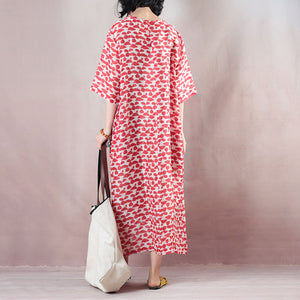top quality red linen dresses oversized o neck print linen gown vintage half sleeve baggy dresses