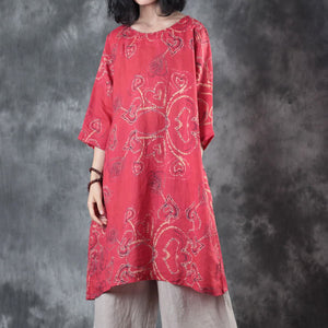 top quality red linen tops oversize traveling blouse women half sleeve print O neck linen blouses