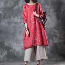 Load image into Gallery viewer, top quality red linen tops oversize traveling blouse women half sleeve print O neck linen blouses