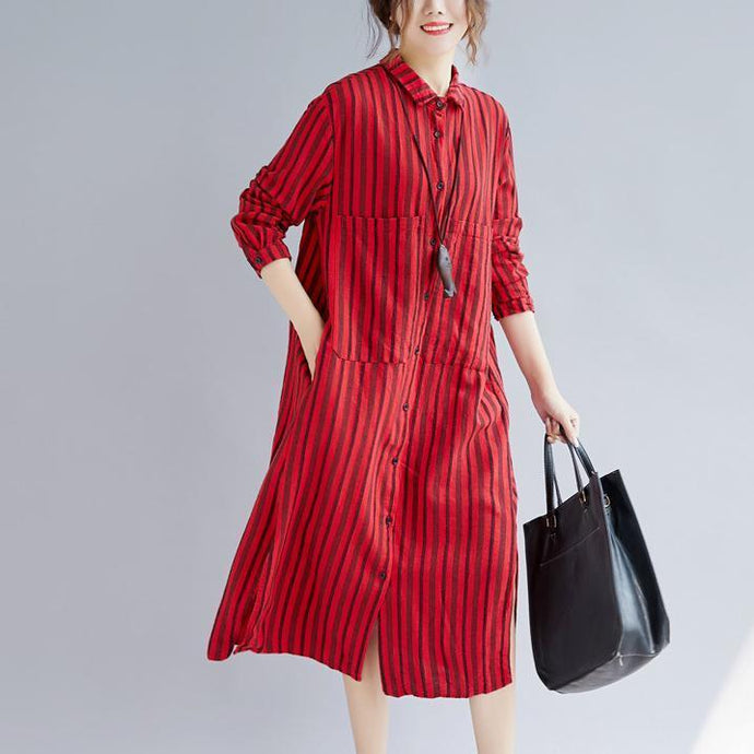 top quality red long cotton linen shirt dress plus size Turn-down Collar side open top quality long sleeve pockets cotton linen shirt caftans