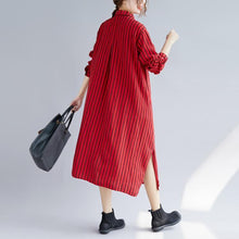 Load image into Gallery viewer, top quality red long cotton linen shirt dress plus size Turn-down Collar side open top quality long sleeve pockets cotton linen shirt caftans