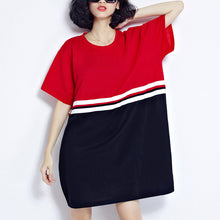 top quality red patchwork cotton shift dresses plus size holiday dresses top quality loose waist short sleeve natural cotton dress