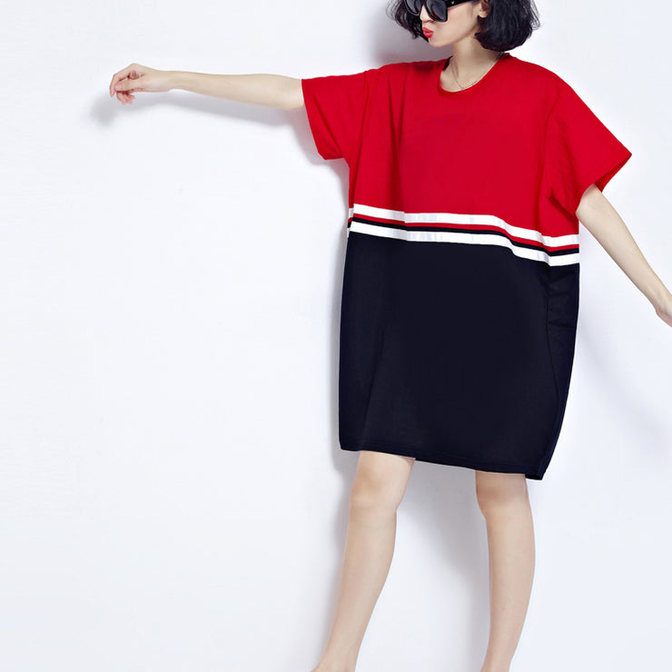 fine red patchwork cotton shift dresses plus size holiday dresses fine loose waist short sleeve natural cotton dress