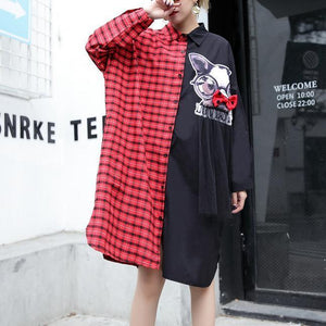 top quality red plaid cotton pullover Loose fitting cotton maxi t shirts Fine side open patchwork cotton blouses