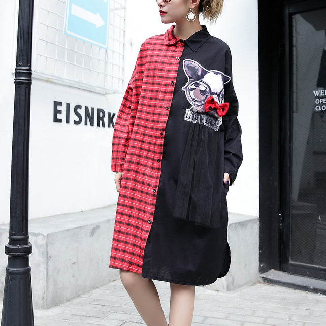 fine red plaid cotton pullover Loose fitting cotton maxi t shirts Fine side open patchwork cotton blouses