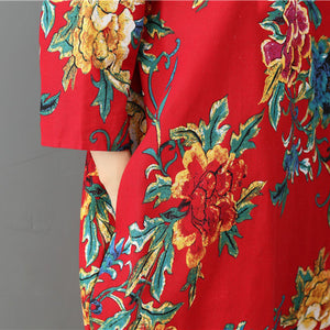 top quality red prints Midi-length linen dress trendy plus size holiday o neck linen cotton dress
