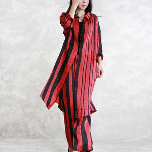 top quality red striped silk linen two pieces plus size tops women long sleeve Turn-down Collar silk linen tops vintage baggy pants