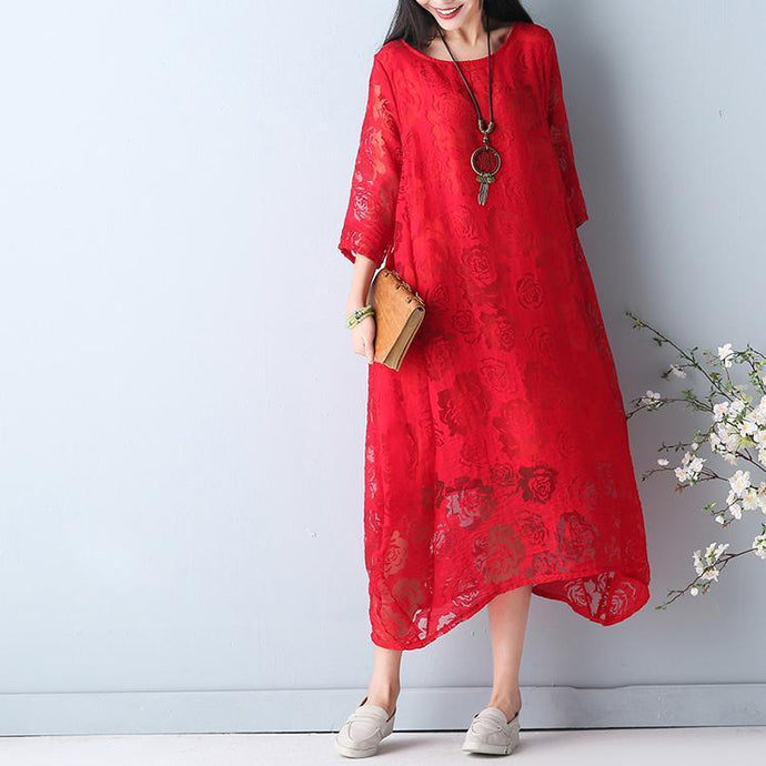top quality red summer hollow out maxi dress o neck Half sleeve summer dress asymmetric chiffon dress