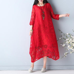 fine red summer hollow out maxi dress o neck Half sleeve summer dress asymmetric chiffon dress