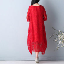 Load image into Gallery viewer, top quality red summer hollow out maxi dress o neck Half sleeve summer dress asymmetric chiffon dress