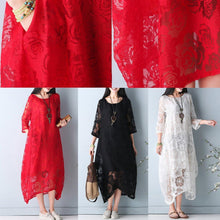 Load image into Gallery viewer, fine red summer hollow out maxi dress o neck Half sleeve summer dress asymmetric chiffon dress