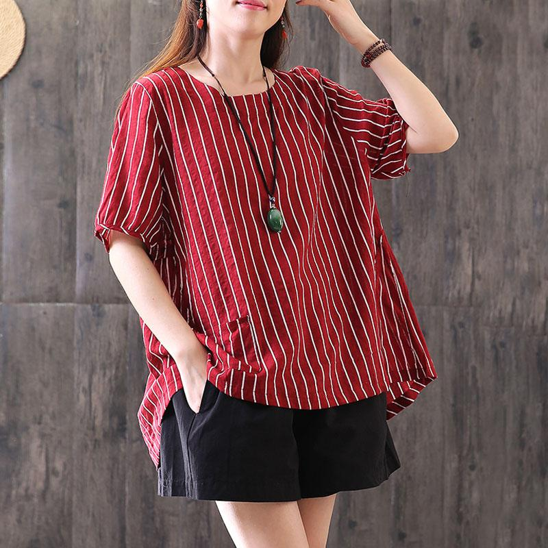 fine summer cotton blended t shirt Loose fitting Stripe Casual Round Neck Short Sleeve Red T-shirt