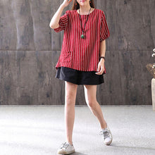 Load image into Gallery viewer, top quality summer cotton blended t shirt Loose fitting Stripe Casual Round Neck Short Sleeve Red T-shirt